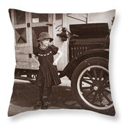 Vintage Car And Old Fashioned Girl Throw Pillow