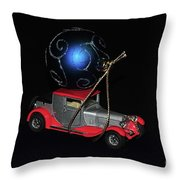 Vintage Car Carrying Christmas Ornament Throw Pillow
