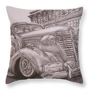 Vintage Car On The Street Throw Pillow
