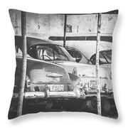 Vintage Cars At Night Bw Throw Pillow