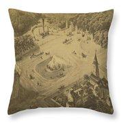 Vintage Central Park Entrance Illusration - 1865 Throw Pillow
