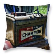 Vintage Champion Spark Plug Cleaner Throw Pillow