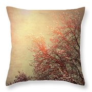 Vintage Cherry Blossom Throw Pillow