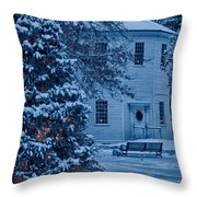 Vintage Christmas Church In Vermont Throw Pillow