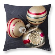 Vintage Christmas Ornaments With Copy Space Throw Pillow