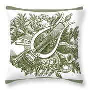 vintage Christmas poster musical instruments  Throw Pillow
