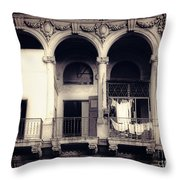 Vintage City Building Exterior Throw Pillow