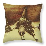 Vintage Clown Doll. Old Parties Throw Pillow