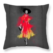 Vintage Coat Dress - By Diana Van Throw Pillow