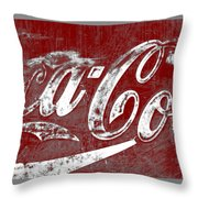 Coca Cola Red And White Sign Gray Border With Transparent Background Throw Pillow