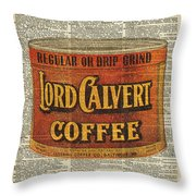 Vintage Coffee On Dictionary Page Throw Pillow