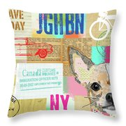Vintage Collage Chihuahua Throw Pillow