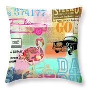 Vintage Collage Flamingo Throw Pillow
