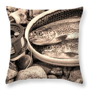 Vintage Concept Of Fly Reel And Pole With Trout In Net  Throw Pillow