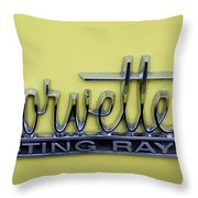 Vintage Corvette Sting Ray Emblem Throw Pillow