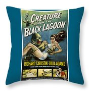 Vintage Creature From The Black Lagoon Poster Throw Pillow