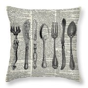 Vintage Cutlery Set Throw Pillow by Anna W