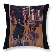 Vintage Cycle Poster March Davis Cycle 100 Dollars Throw Pillow