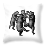 Vintage Dancing Bears Throw Pillow