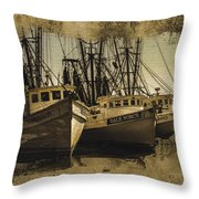 Vintage Darien Shrimpers Throw Pillow