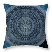 Vintage Denim Mandala Throw Pillow