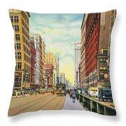 Vintage Detroit Woodward Avenue Throw Pillow