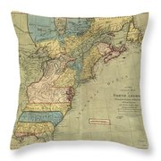 Vintage Discovery Map Of The Americas - 1771 Throw Pillow