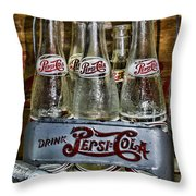 Vintage Double Dot Metal Pepsi Carrier. Throw Pillow