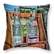 Vintage Double Dot Wooded Pepsi Carrier Throw Pillow