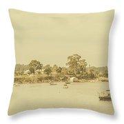 Vintage Dover Harbour Tasmania Throw Pillow