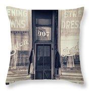 Vintage Dress Shop Throw Pillow