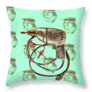 Vintage Drill Motor Green Trigger Pattern Throw Pillow