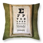 Vintage Eye Chart Throw Pillow