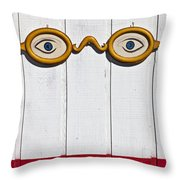 Vintage Eye Sign On Wooden Wall Throw Pillow