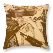 Vintage Fashion Design Throw Pillow