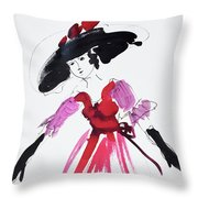 Vintage Fashion In Pink And Black Throw Pillow