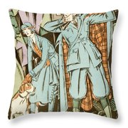Vintage Fashion Plate Twenties Sporting Outfits Throw Pillow