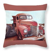 Vintage Fire Truck Watercolor Painting In A Local Scrapyard Throw Pillow