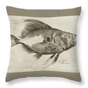 Vintage Fish Print Throw Pillow