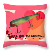Vintage Fishing Lure Valentine Card Throw Pillow