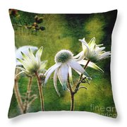 Vintage Flannel Flowers Throw Pillow