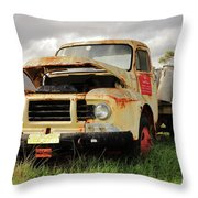 Vintage Flatbed Milk Truck Portrait Throw Pillow