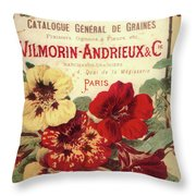 Vintage Flower Seed Cover Paris Rare Throw Pillow