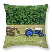 Vintage Ford Blue And White Tractor On A Farm Throw Pillow