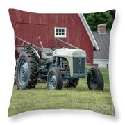 Vintage Ford Farm Tractor With Red Barn Throw Pillow