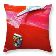 Vintage Ford Hood Ornament Havana Cuba Throw Pillow