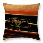 Vintage Ford Mustang Hood Throw Pillow