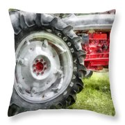 Vintage Ford Tractor Watercolor Throw Pillow