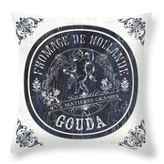 Vintage French Cheese Label 1 Throw Pillow