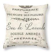 Vintage French Perfume Sign Throw Pillow